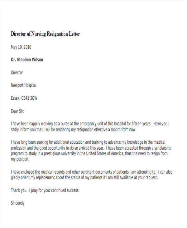 34 sample resignation letter templates sample templates director of nursing resignation letter2 expocarfo Image collections