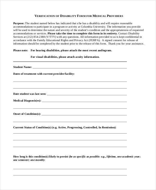 disability verification form for medical providers