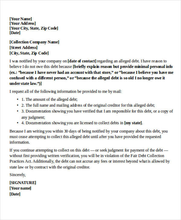 dispute collection agency letter