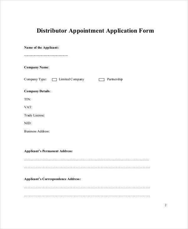 distributor appointment application form