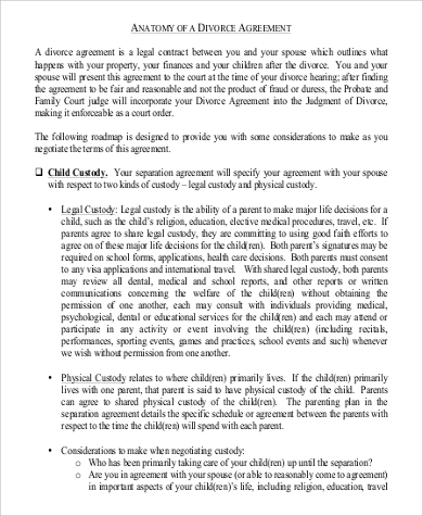 divorce agreement in pdf