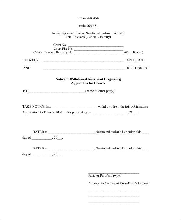 Divorce Notice Format. Divorce Notice Application Form Simple