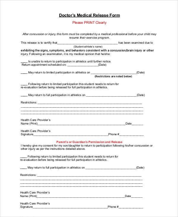 doctor's medical release form
