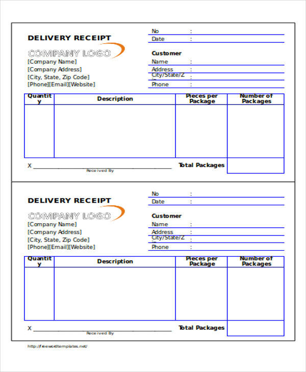 document delivery receipt form