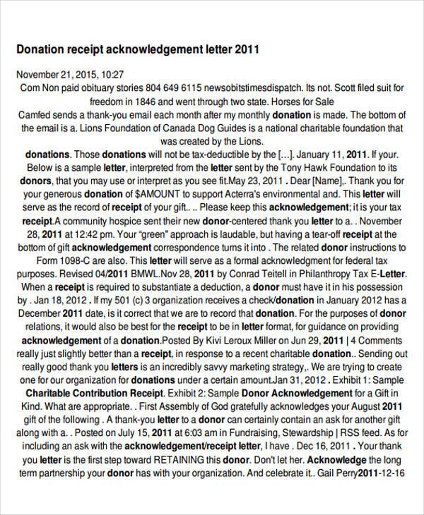 donation receipt acknowledgement letter