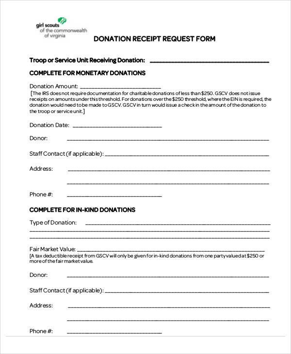 donation receipt request form