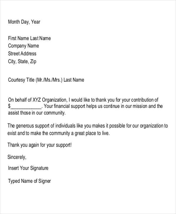 donation support thank you letter