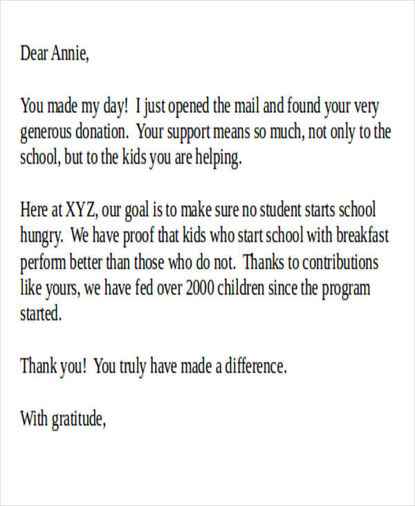 donation thank you letter for school