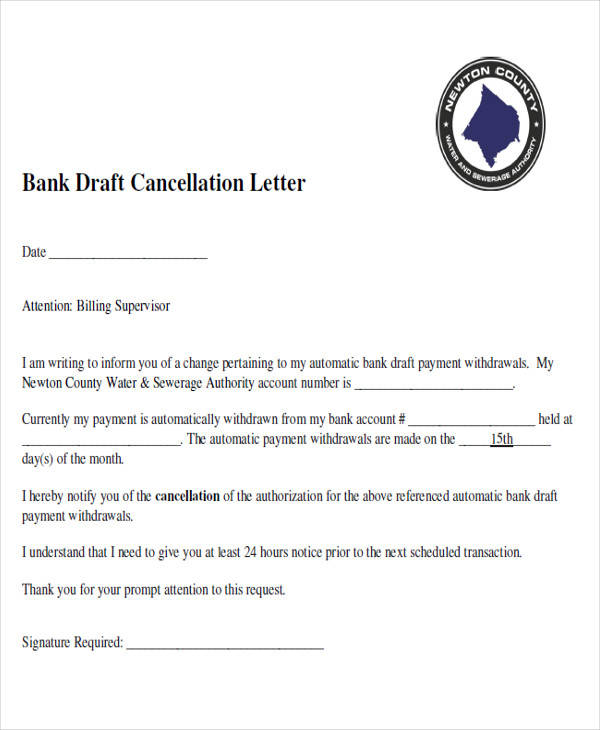 Cancellation letter of bank draft 28 images for Bank draft template