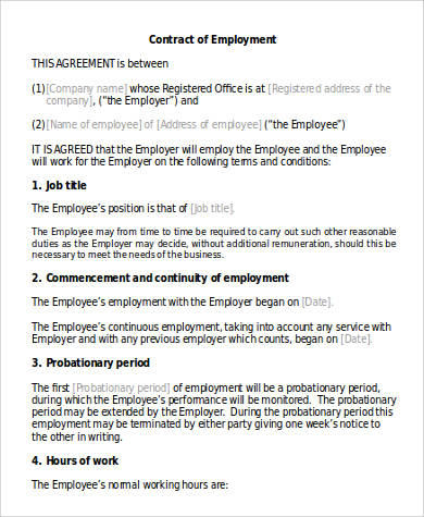 draft employment contract agreement