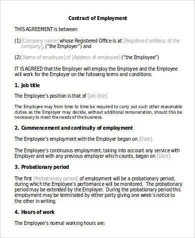 41 Employment Agreement Samples Sample Templates