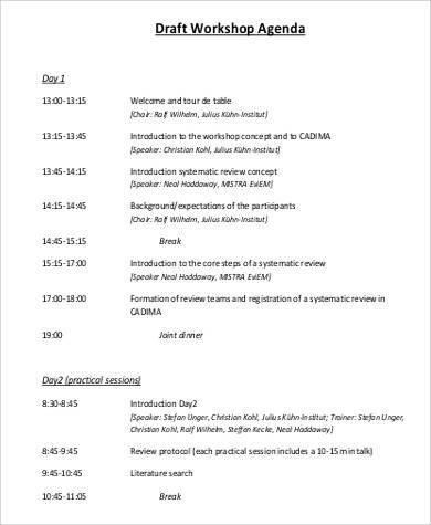 draft workshop agenda