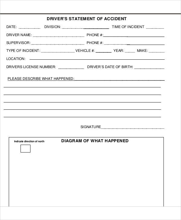 drivers accident statement form