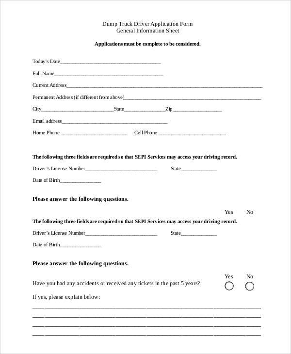 dump truck driver application form