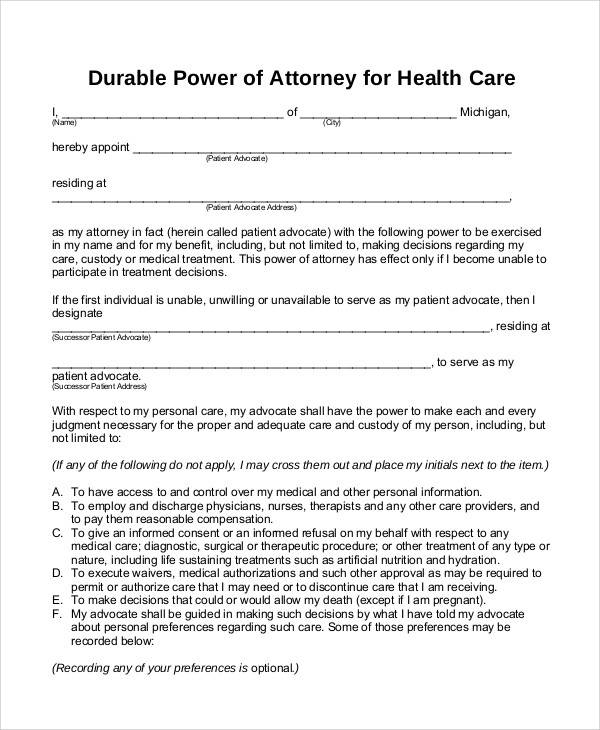 Durable Power Of Attorney Medical Form