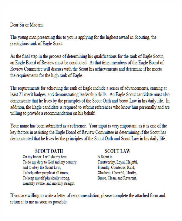 eagle scout application recommendation letter