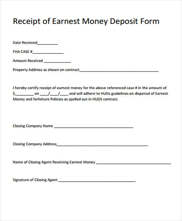 earnest money receipt form1
