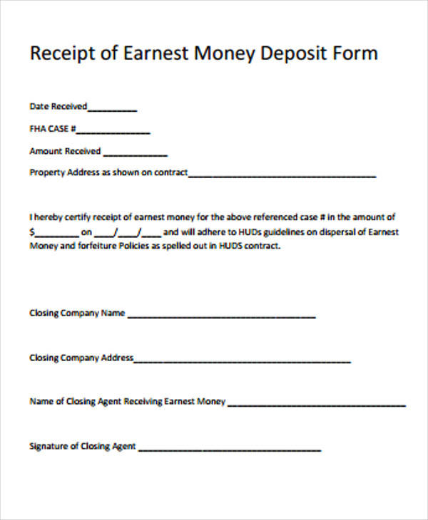 Superb Earnest Money Receipt Form