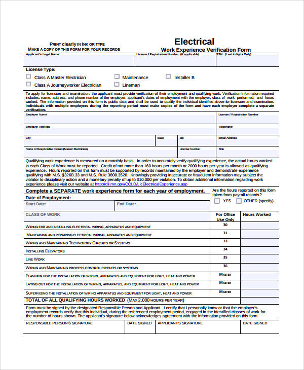 electrical experience verification form