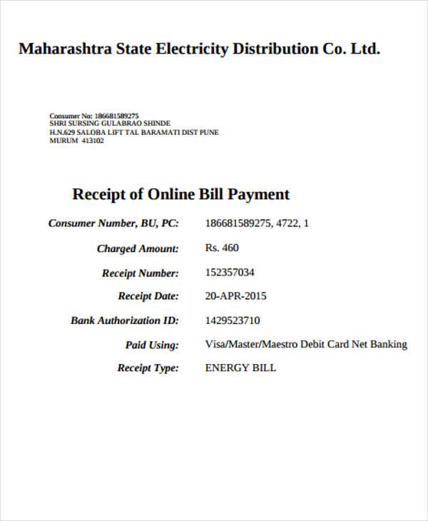 electricity bill payment receipt3