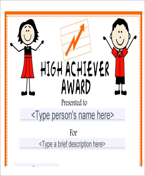 elementary school achievement certificate