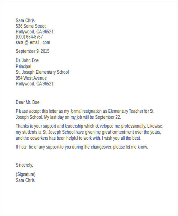elementary teacher resignation