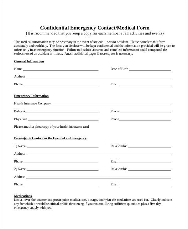 emergency contact and medical form