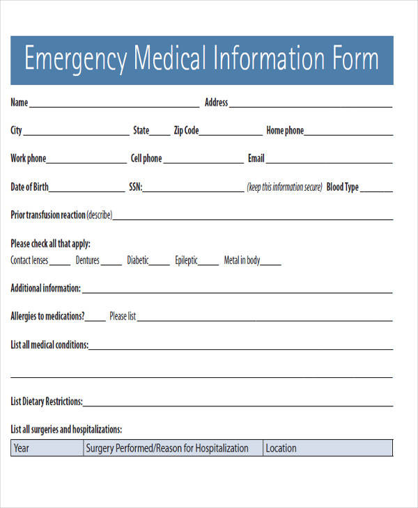 emergency medical condition form