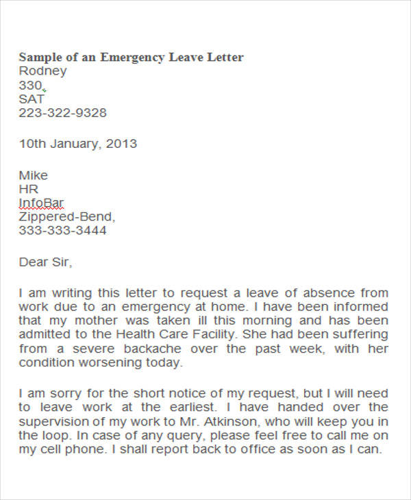 42 leave letter samples pdf word apple pages sample templates emergency medical leave letter spiritdancerdesigns Images