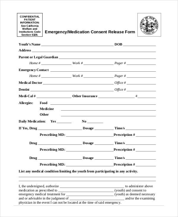emergency medication consent release form