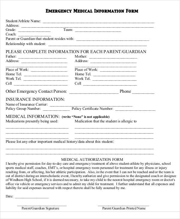 Blank Medical Forms Free Printable Medical Consent Form
