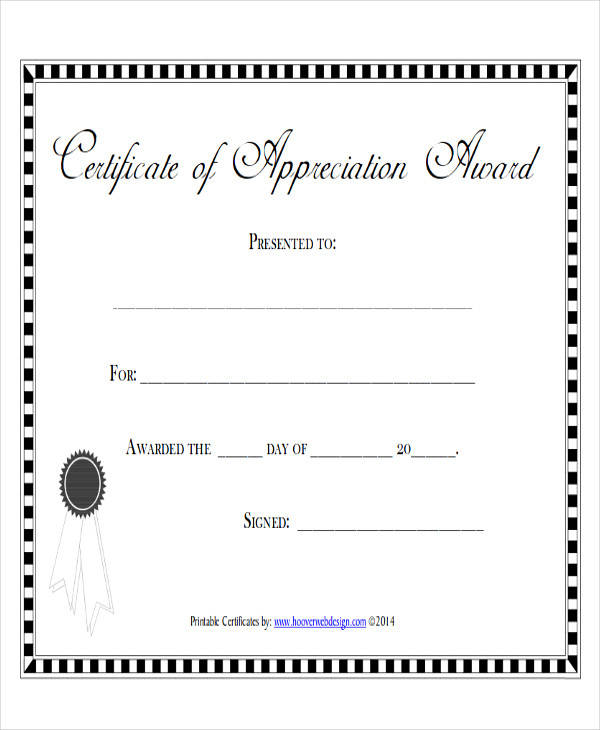 employee appreciation award certificate example