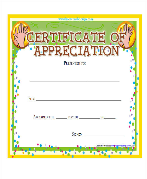 employee appreciation award certificate