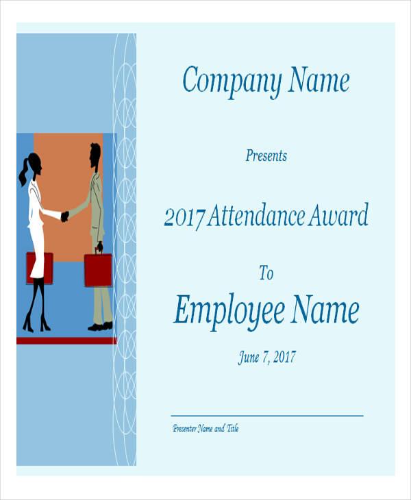 employee attendance award certificate