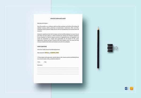 employee compliance survey template in ipages for mac1