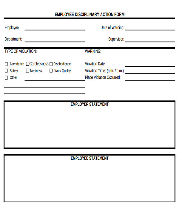 employee disciplinary forms - Employee Statement Form