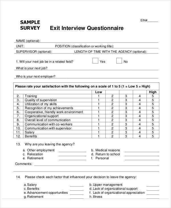 Sample Survey Form