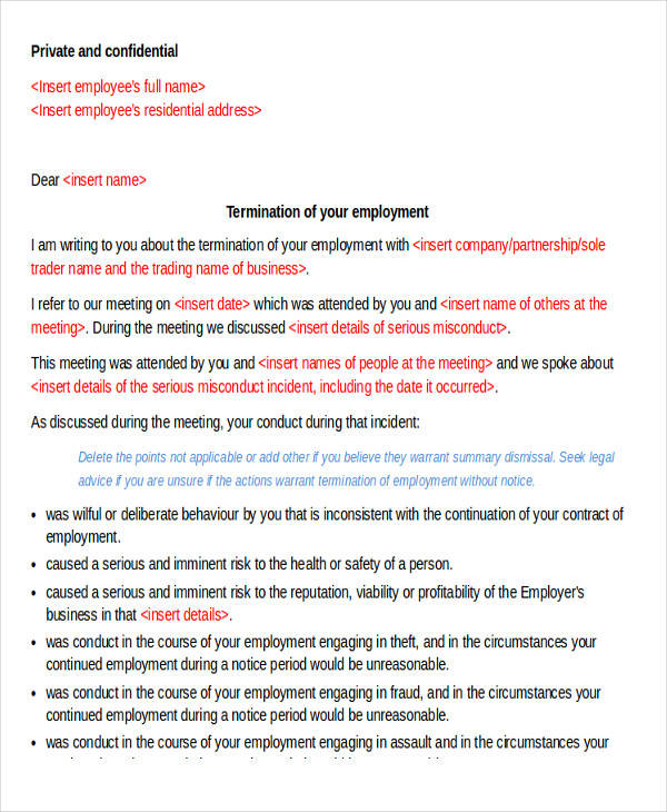 30 termination letter formats sample templates employee immediate termination letter spiritdancerdesigns Choice Image