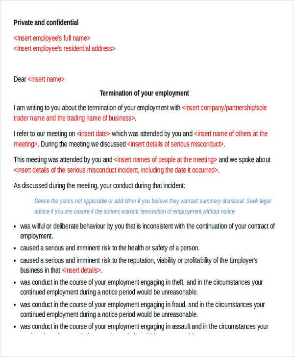 30 termination letter formats sample templates employee immediate termination letter spiritdancerdesigns Gallery
