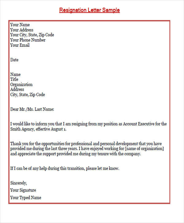 employee job resignation letter