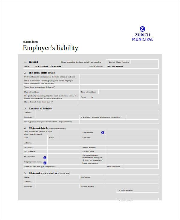 employee liability claim form
