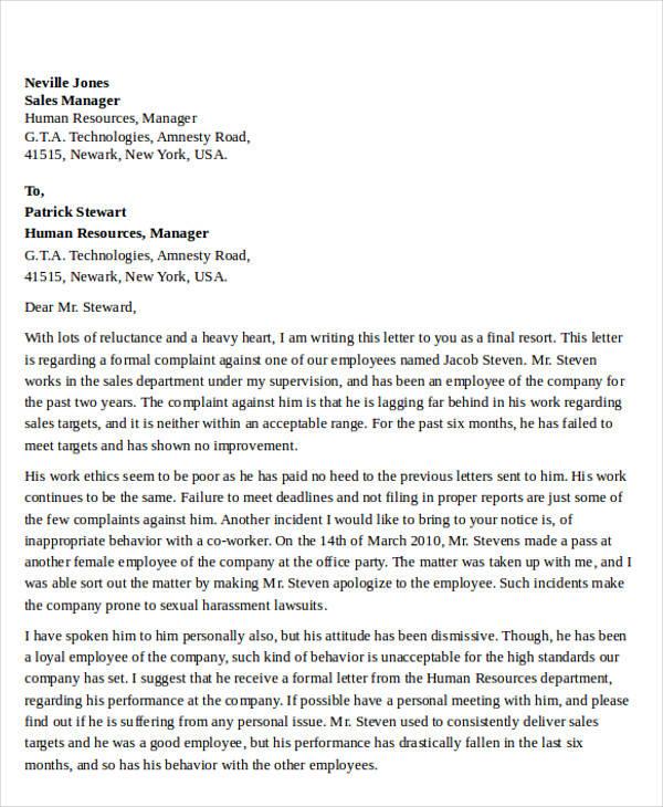 employee misbehavior complaint letter1