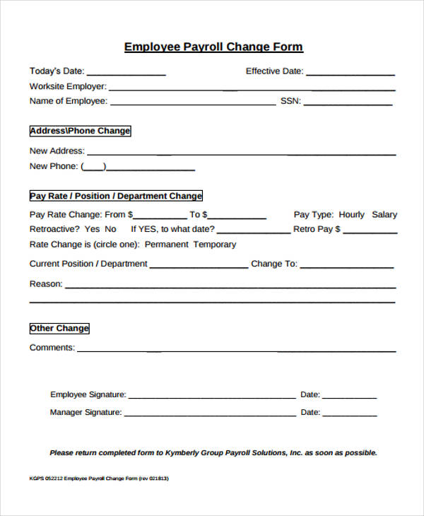 employee payroll change form