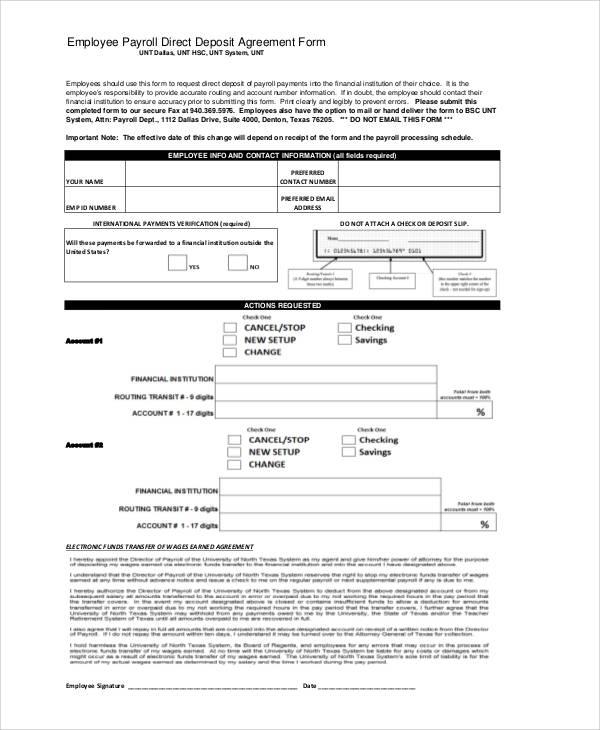 employee payroll direct deposit agreement form