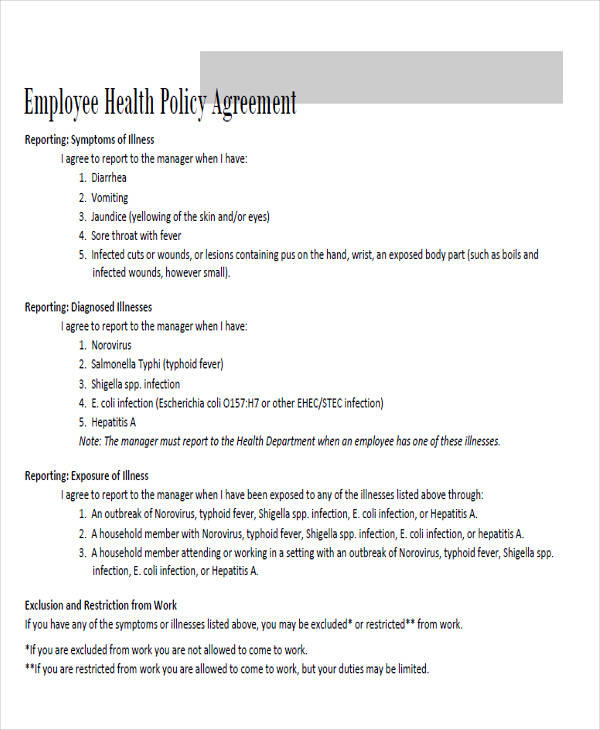 employee policy agreement form