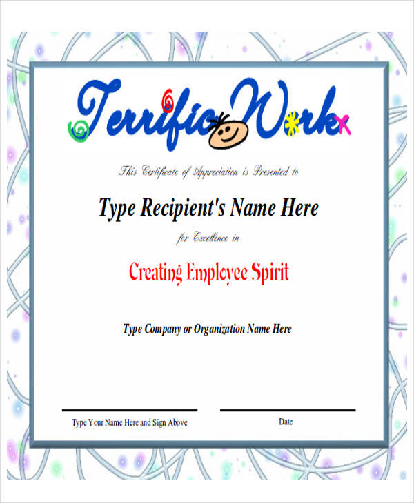 employee recognition award certificate