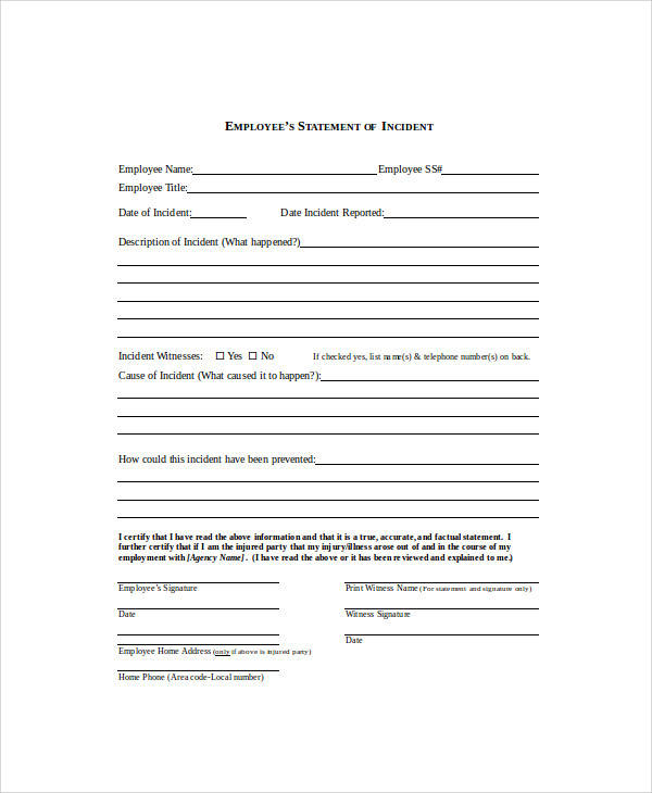 Employee Statement Form