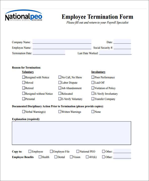 employee termination notice form