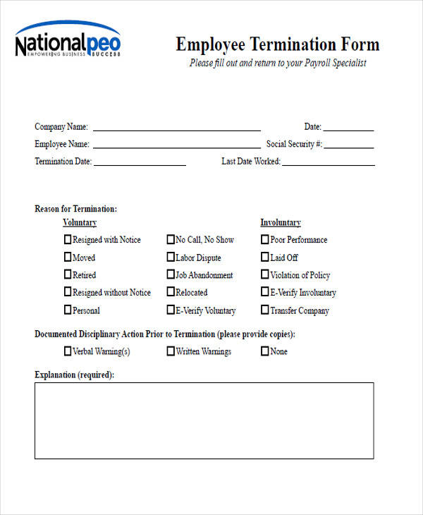 employee termination notice form1