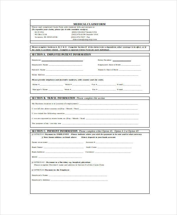 employee travel disability claim form